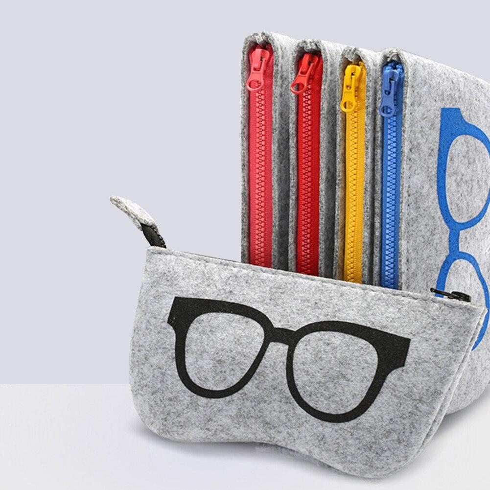 Felt Zipper Eye Glasses Sunglasses Case Pouch Bag Box Storage Protector Eyewear Accessories Fun Pattern Sunglasses Storage Bag
