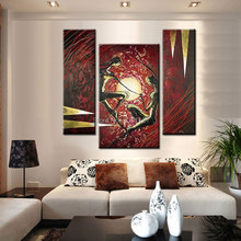 Hand Painted Abstract Acrylic Paintings On Canvas red black lover figure 3 Panel Wall Pictures For Bedroom Decoration Set