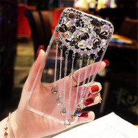 XINGDUO For Iphone 6 Case Bling Yellow Black White Diamond Tassel Pendant Rhinestone Cover Case For