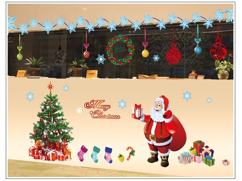 Large Santa Christmas Tree Wall Decals DIY Merry Christmas Wall ...