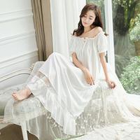 2017 New Summer Princess Nightdress Royal Pyjamas Women's Long Nightgown Lace Sleepwear Modal Nightshirt s783