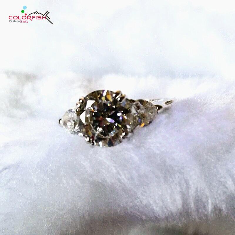 COLORFISH Brilliant 2 Carat Round Cut Three Stone Anniversary Ring Female 925 Sterling Silver Love Promise