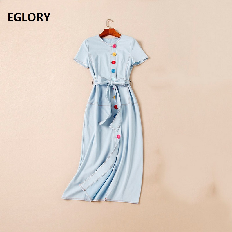 High Quality New Style Jeans Women Dress Summer 2018 Ladies Sweet Rainbow Color Button Short Sleeve Mid Calf Casual Denim Dress