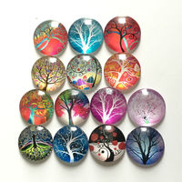 Free shipping (14pcs/lot)Various Trees Round Crystal Glass fridge magnet Cartoon message sticker Kitchen home Decoration