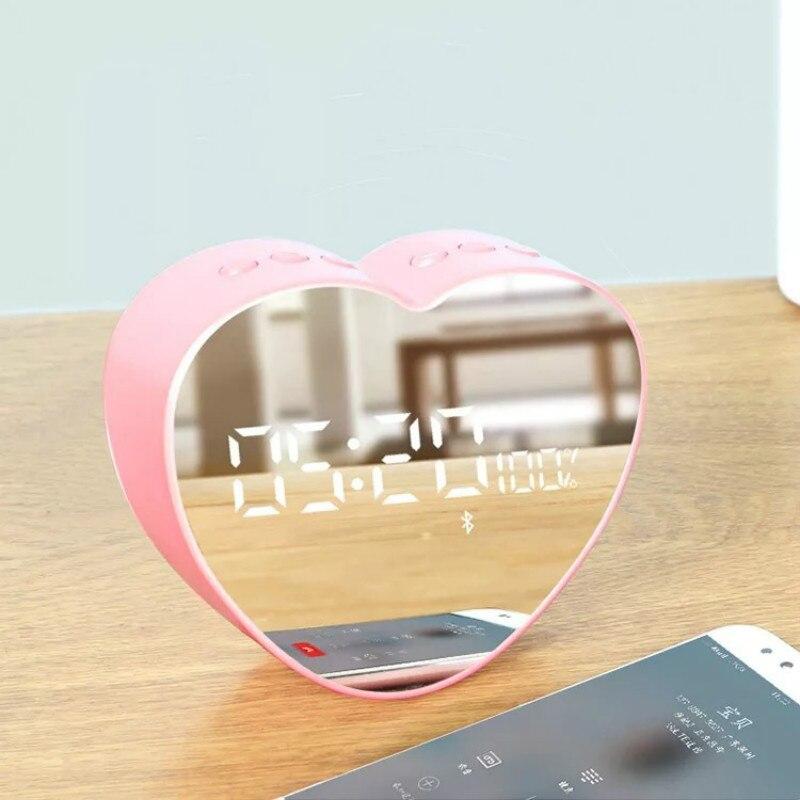 Amour Mini LED Miroir Réveil Smart Bluetooth Haut-parleurs Sans Fil Radio Multifonction Numérique D'alarme Horloge Cadeau Couple Horloges