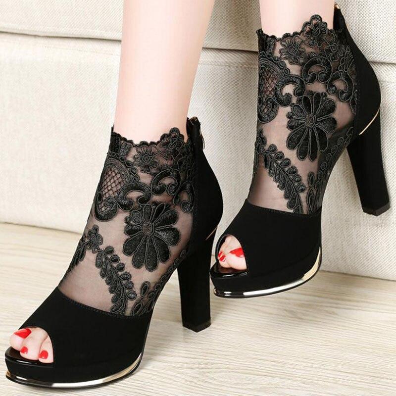 De Taille Chaussures Rouge Hauts Zipper Plate Nouvelles Patchwork 34 Brodé Femmes Marque Noir Talons Coolcept Bottes forme vin 41 Mode Yqg6A