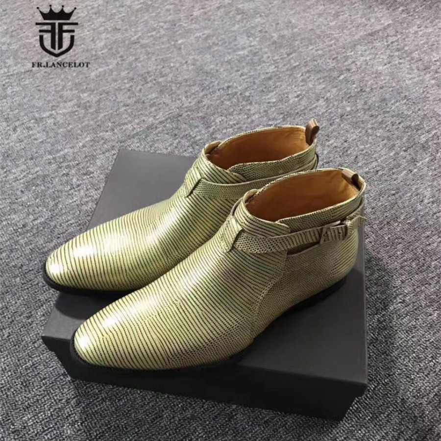 Handmade Customized Luxury New Youth Trend Buckle Embossed Genuine Leather Lizard Pattern Ankle Boots customized new exclusive design handmade