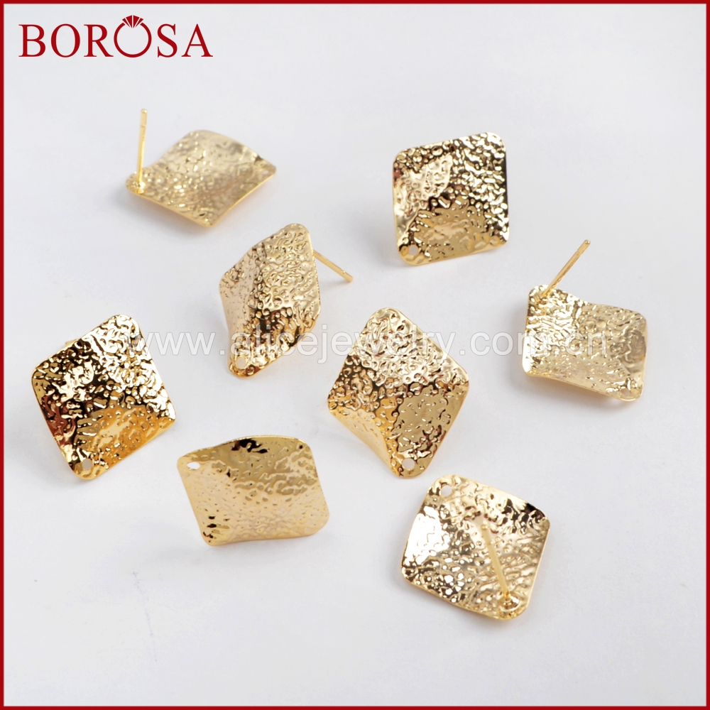 BOROSA 50Pairs Rhombic Shape Gold Color Brass Earrings With Hole Stud Earrings Jewelry Findings No Back