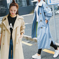 Female Solid Color Thin X-Long Trench Coat Polyester Female Single Breasted Coat For Women Trench Femme A2359