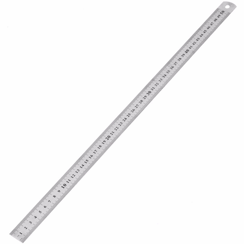1Pcs High Quality Double Side Scale Stainless Steel Straight Ruler Measuring Tool 50cm School Office Supplies double side scale stainless steel straight ruler measuring tool 50cm