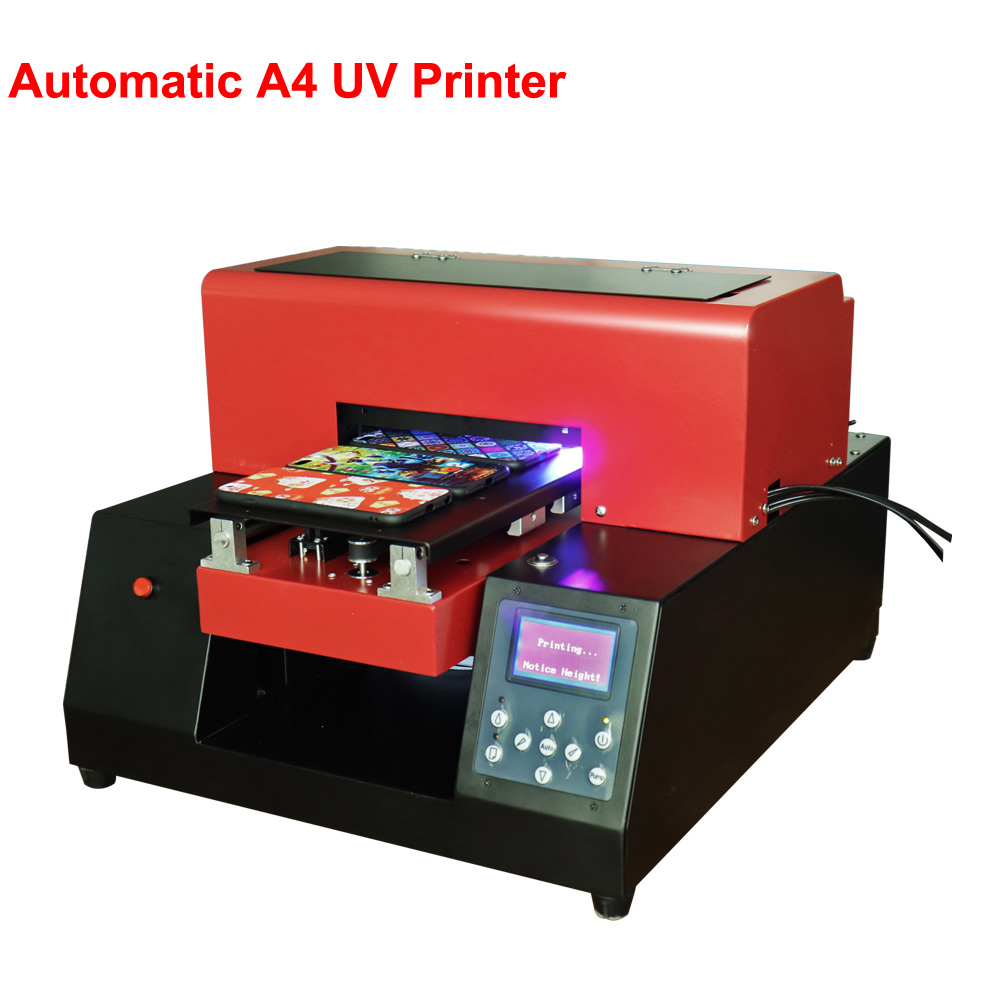 Digital Mini Automatic UV Printer A4 Size UV Flatbed Printer Phone Case Metal Printing For Phone Case/T-Shirt/ Leather With Ink 6 color uv led flatbed printer white white ink phone case printer