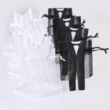 50 шт. сумка для конфет из органзы на шнурке 25* смокинг и 25* платье для невесты, жениха, свадебные сувениры вечерние подарочные сумки WB06