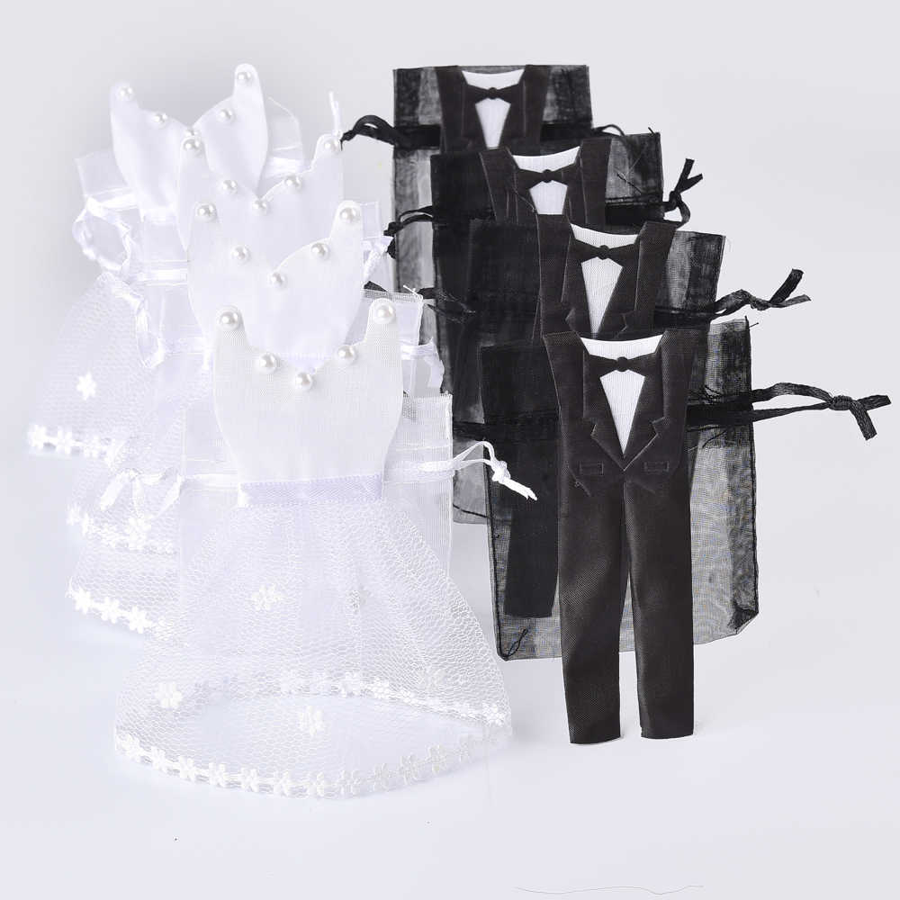 50 Pieces Organza Drawstring Candy Bag 25* Tuxedo &  25* Dress Bride Groom Wedding Favors Party Gift Bag WB06