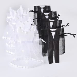 Image 1 - 50 Pieces Organza Drawstring Candy Bag 25* Tuxedo &  25* Dress Bride Groom Wedding Favors Party Gift Bag WB06