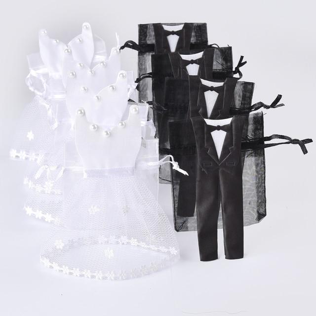 50 peças de Organza Com Cordão Saco de Doces 25 * Tuxedo & 25 * Vestido de Noiva e Noivo Favores Do Casamento Saco Do Presente Do Partido WB06