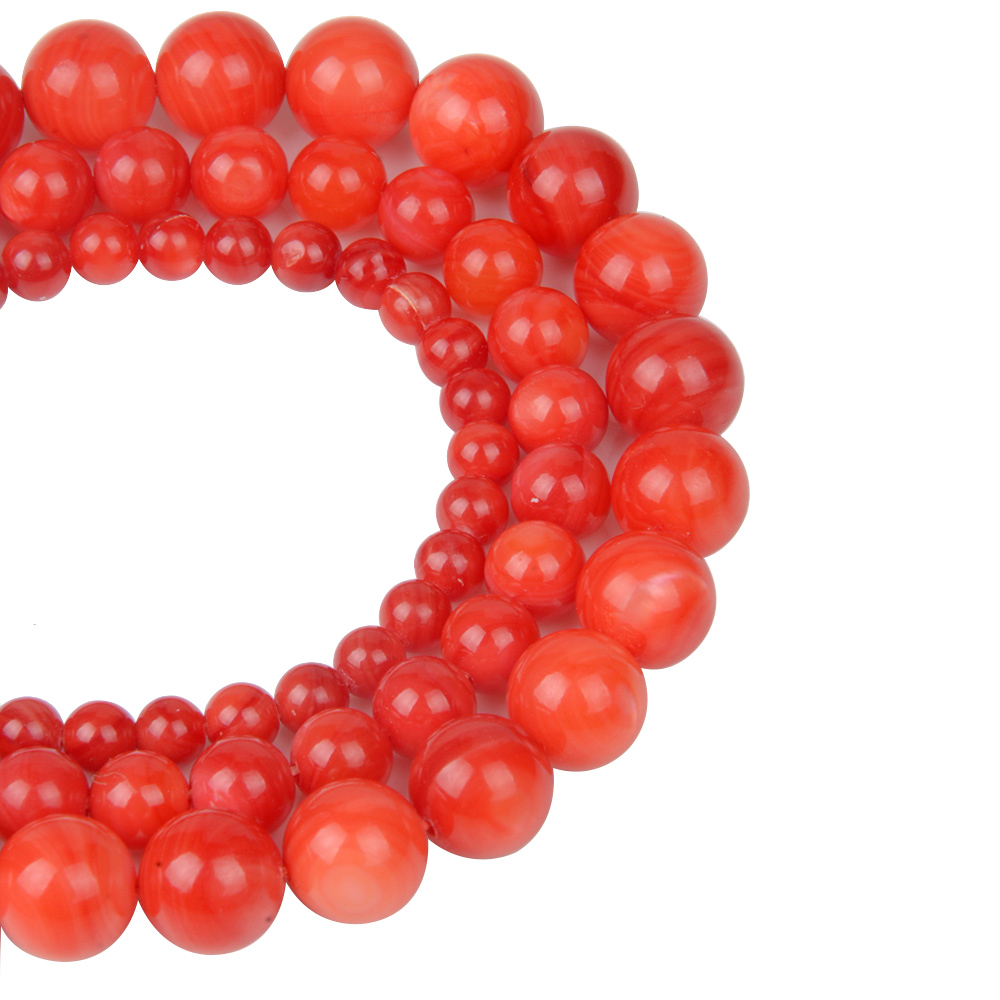 Colored Round Red Shell Beads For Women Shell Jewelry Making Loose Beads