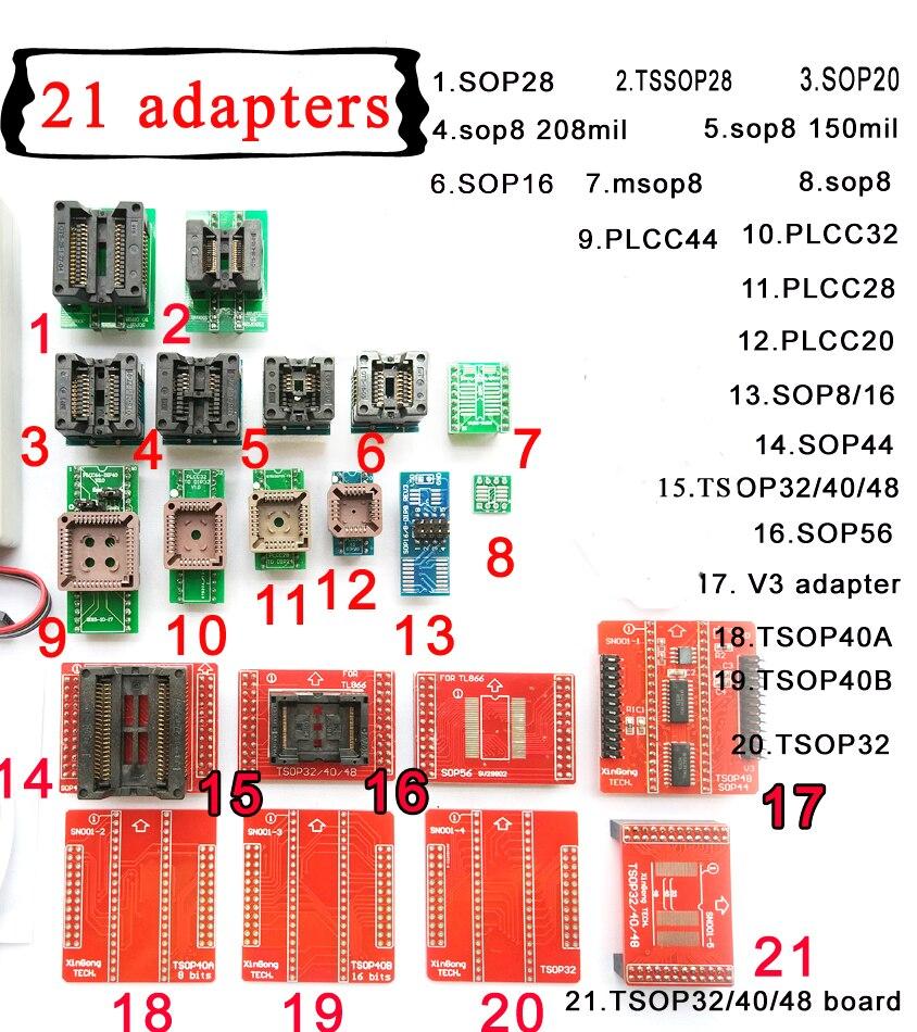 21 pièces Universel adaptateurs kits pour Mini pro haute vitesse TL866II plus XP8710 usb programmeur IC puce prise