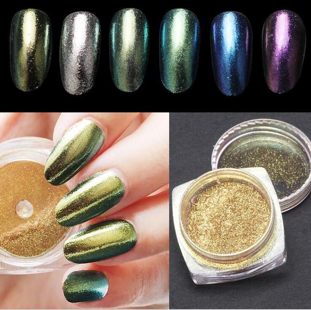 New 2g Laser Chameleon Chrome Pigment Powder Nail Art Magic Mirror ...