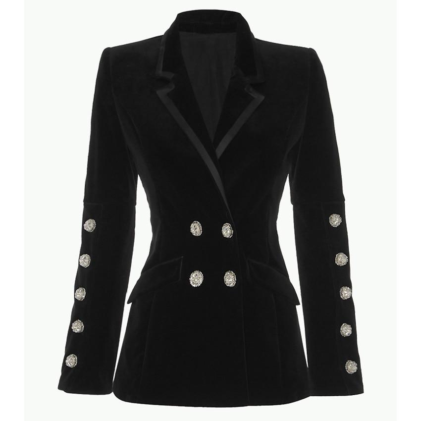 HIGH STREET New Fashion 2019 Designer Blazer Jacket Women s Crystal Diamonds Buttons Velvet Blazer Outer