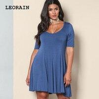 2017 New Summer Blue Woman Casual Dress Solid Round Neck Zanzea Plus Size Sundress Womens Dresses
