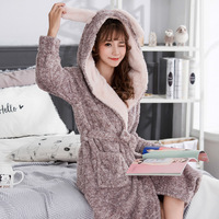 New Women Robe Coral Fleece Bathrobe Long Sleepwear Flannel Robe Women Nightgowns Winter Autumn Warm Kimono Dressing Gown Robe