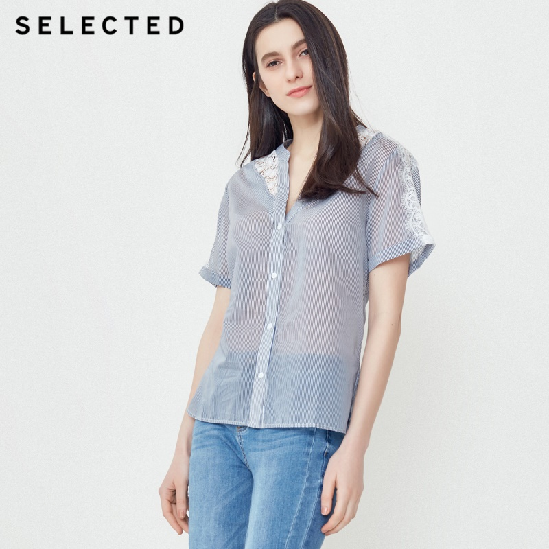 SELECTED ladies new cotton V neck lace hollow out striped short sleeved shirt S 418204502