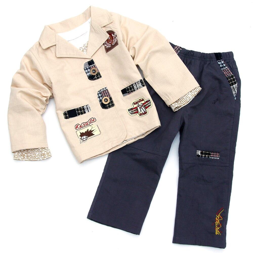 2017 garçons blazer enfants bébé garçon costume jolie pochette ensembles enfants coton manteau + t-shirt + pantalon ensemble bebe garçon enfants vêtements 12M-5Y