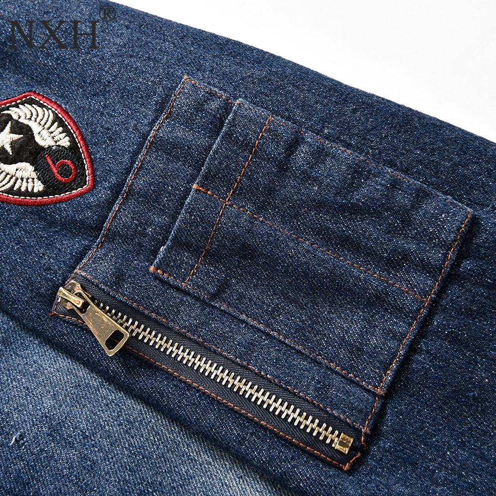 NXHNZ888 Autumn Winter Cowboy Denim jacket Men Baseball collar Velvet Fur  Vans Zipper Embroider Casual Jacket Coat Size M XXXL-in Jackets from Men s  ... b9020c8a0f06