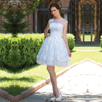 Lovely Sexy Ball Gown Lace Wedding Dresses 2016 Knee Length Puffy Reception Dresses Bridal Gowns Vestido