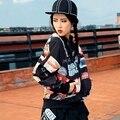 Женская мода Мультфильм печатных куртка женская повседневная бейсбол равномерное Европа США уличный стиль куртки дамы punk rock пальто LX6033