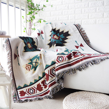 Nordic Modern Geometry Jacquard Tassel Blanket Throw Soft Sofa Blanket Cover Knitted Blanket On Sofa/Beds/Travel Home Textile modern solid white tassel throw blanket jacquard knitted soft sofa blankets cotton blanket on travel plane home textile cobertor