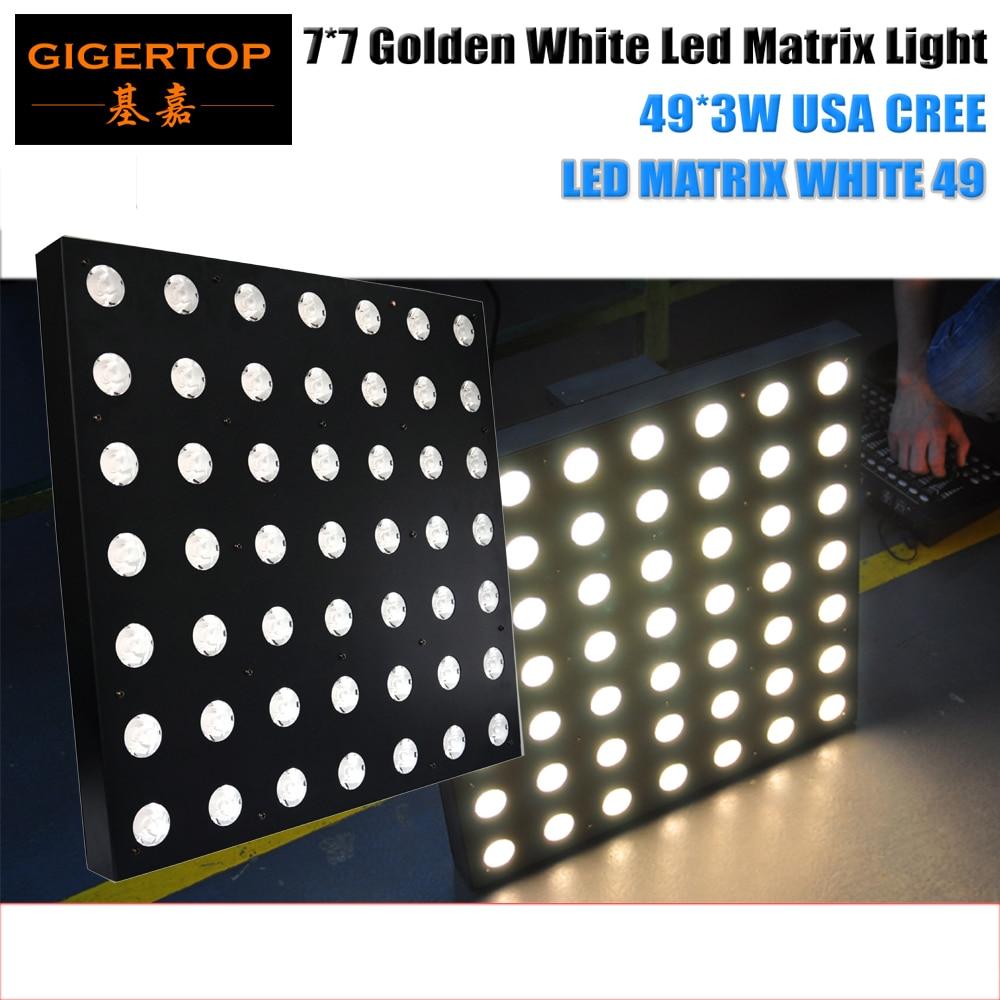 High Quality 7x7 Gold Warm White CREE Led Matrix Light 49 Head Flat Beam Light DMX 5/51 Channels 5 Degree Lens Angle CE ROHS