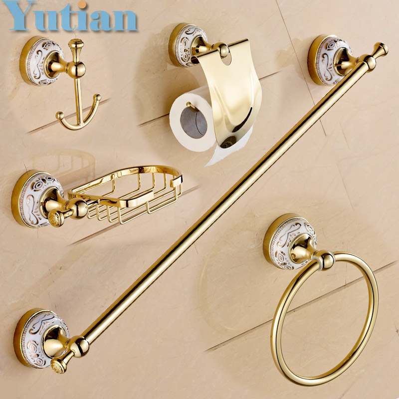 Free shipping,Stainless Steel + ceramic Bathroom Accessories ,Paper Holder,Towel Bar,Soap basket,bathroom sets,YT-10200-5 free shipping ba9105 bathroom accessories brass black bronze toilet paper holder