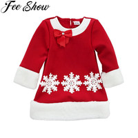 New Year Girls Toddlers Infant Christmas Snowflake Full Sleeve Santa Claus Dresses Costume SZ 2T 6Y