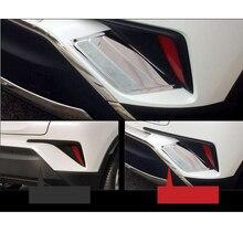 2 pcs Aço Inoxidável SUS304 Lanternas Traseiras Lado Guarnição Acessórios Do Carro Styling Capa para Toyota C-HR CH-R 2017 2018