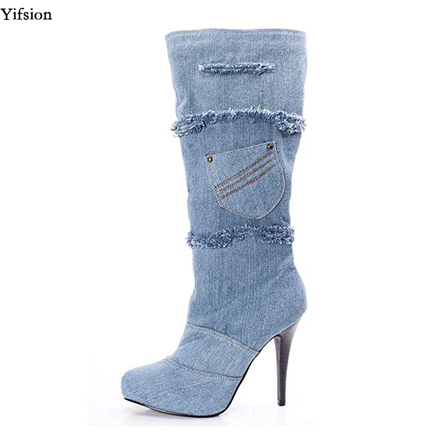 Yifsion New Women Winter Mid-Calf Denim Boots Sexy Thin High Heel Pointed Toe Ladies Casual Long Boots Women Plus US Size 4-15 stylish mid waist cuffed denim ripped shorts for women