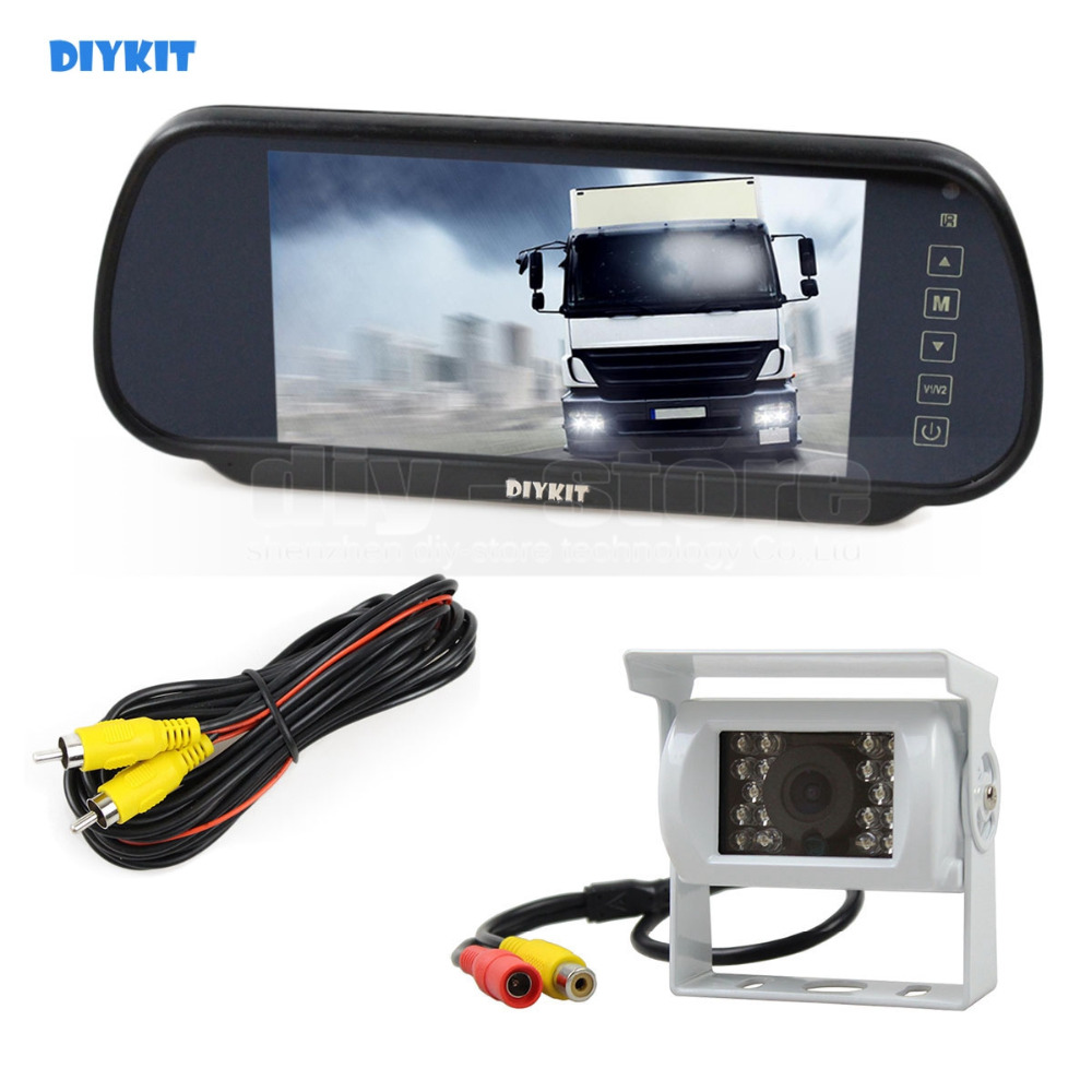 DIYKIT 7inch Mirror Monitor Car Monitor Waterproof IR Night Vision CCD Rear View Car Camera White for Truck Caravan Bus Van diysecur 4pin dc12v 24v 7 inch 4 split quad lcd screen display rear view video security monitor for car truck bus cctv camera