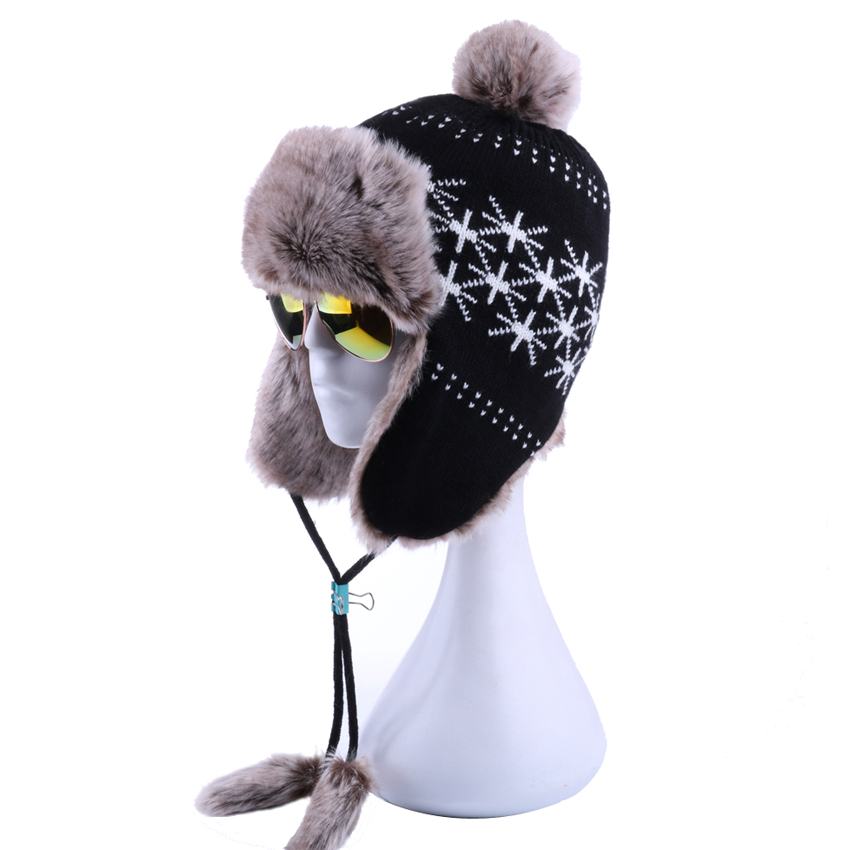 a252f70fa94 Russian Winter Hat Wool Knit Women Ushanka Pompom Earflap Bomber Hat Faux Fox  Fur Windproof Snow Ski Cap Aviator Trapper Beanies - Memang Store