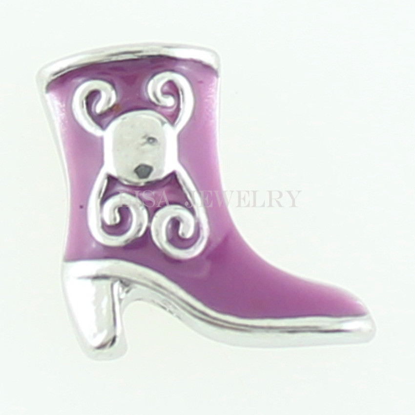 2016 HOT Fashion Zinc Alloy Purple Boot Floating Locket Charms Diy For Glass Memory Lockets Free Shipping 10pcs/lot