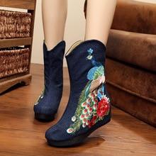 2017 empfehlen Schwarz Mittelkurz Stiefel Frauen Runde Kappe Stickerei Chinesischen Stil Schuhe Lass Stiefel Große Größe SMYXHX-D0090