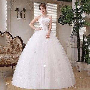 Image 5 - 2019 롱 트레인 웨딩 드레스와 함께 새로운 럭셔리 다이아몬드 섹시한 Strapless 아플리케 플러스 사이즈 맞춤 웨딩 드레스 로브 드 Mariee 패