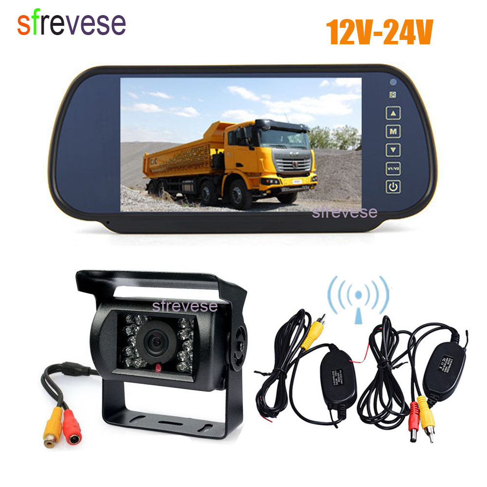 "Wireless 7/"" Mirror Monitor Reverse IR Camera Rear View Kit For Car Waterproof"