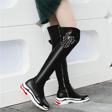 NAYIDUYUN    Thigh High Boots Women Black White Over The Knee High Riding Booties Med Heel Tall Shaft Punk Sneaker Shoes Oxfords nayiduyun thigh high boots women black leather over the knee booties med heel tall shaft punk sneakers chic riding greepers