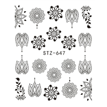 1pcs Black Flower Nail Sticker Water Decals Hollow Tattoo Flora Wings Stencils for Nail Art Decoration Sliders Manicure BESTZ647