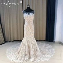 2018 New Backless Mermaid Wedding Dress Ivory Lace and Nude lining Bridal Gown Ilussion Wedding Gown Robe de Mariee LY1101