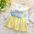 Specials Free shipping Spring and autumn Kids The new Baby clothes button Cute Cartoon Fake two strap dress Yellow Baby Dress