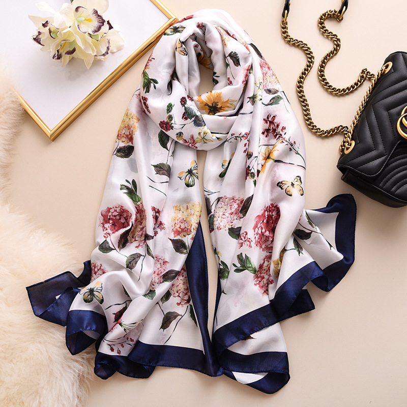 Pastoral Style Silk Scarf Women Beauty Butterfly Pattern Shawls And Wraps Elegant Floral Print Pashmina Large Long Neck Scarves