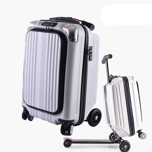 7709c1b6c1bc BeaSumore Micro Scooter Skateboard Rolling Luggage Trolley Men Business Suitcase  Wheels Travel Duffle Student Cabin Trunk