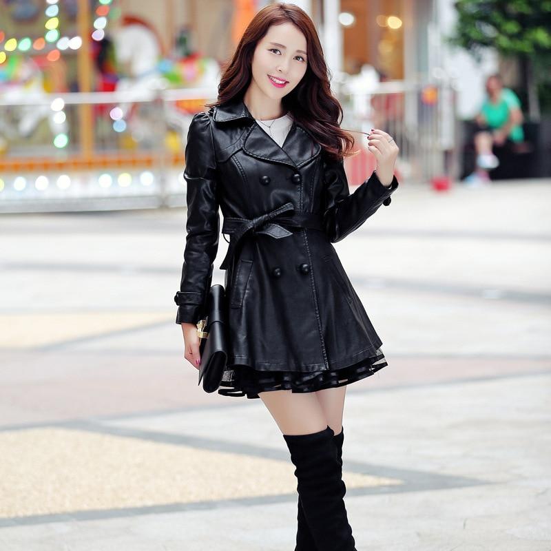 Negro Cuero Tamaño Mujer Para Collar Casacos De Más Primavera Casual Chaqueta Plumas Inverno Black Otoño Abrigos red Y Larga J677 Turn rojo Feminino 6dqwfxFz