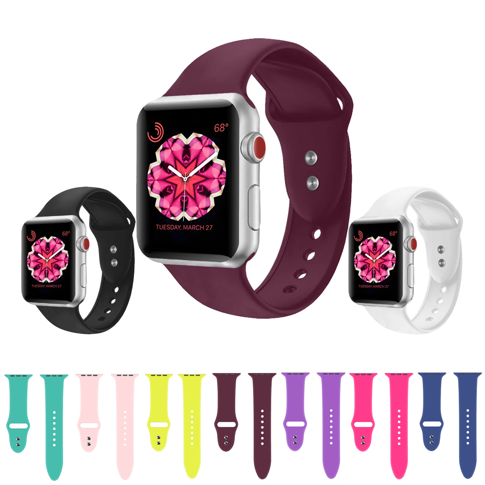 Silicone Strap For Apple Watch Band 42mm 38mm Iwatch 4 Band 44mm 40mm Double Buckle Bracelet Belt Watchband Apple Watch 4 3 2 1